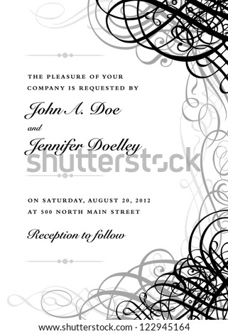 Vector Ornate Black Grunge Frame. Easy to edit. Perfect for invitations or announcements. - stock vector
