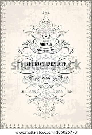 Vector ornate frame and ornament template. All pieces are separated, and easy to edit. Great for invitations and announcements. - stock vector