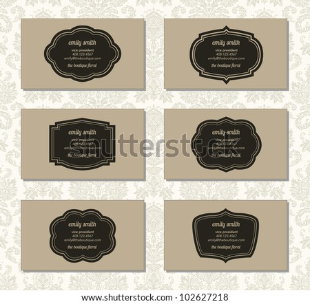 Vector Ornate Frame Business Card Set. Easy to edit.