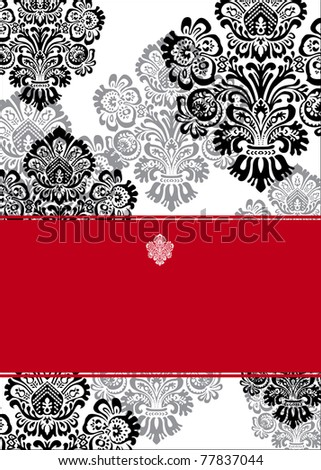 Vector Ornate Red and Black Frame - stock vector
