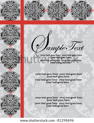 Vector Ornate Red and Black Invitation Card