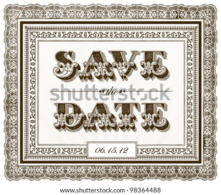 Vector Ornate Save The Date Frame. Easy to edit. Perfect for invitations or announcements. - stock vector