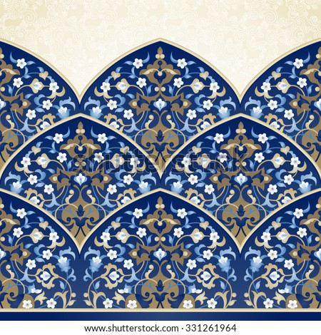 Vector ornate seamless border in Eastern style. Bright element for design. Floral vintage pattern for invitations, birthday and greeting cards, wallpaper. Traditional arabic decor on blue background. - stock vector