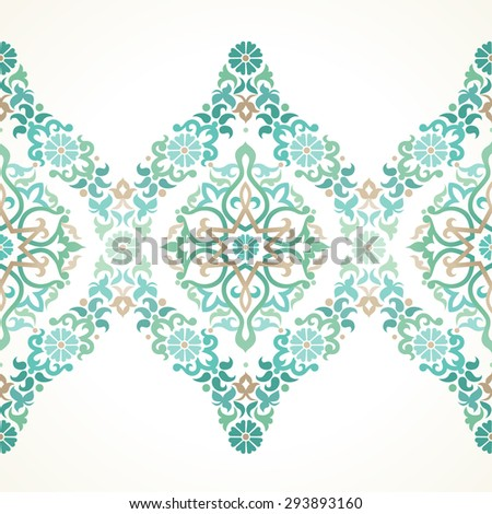 Vector ornate seamless border in Eastern style. Floral element for design, place for text. Ornamental vintage pattern for wedding invitations, birthday and greeting cards. Traditional green decor. - stock vector