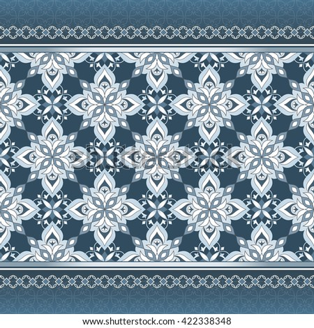 Vector ornate seamless border in Eastern style on aquamarine. Element for design. Ornamental backdrop. Pattern fill. Ornate floral decor for wallpaper. Traditional decor. - stock vector