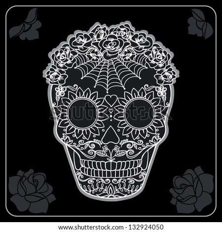 Vector Ornate Sugar Skull. Black and White Ornament - stock vector