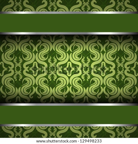 Vector Ornate Vintage Background Green And Silver