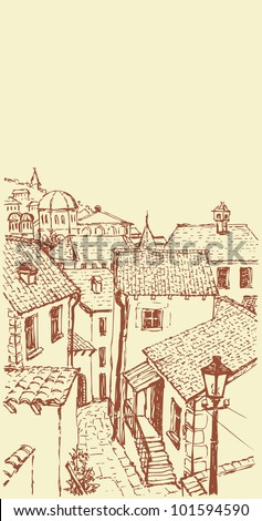 Vector outline. A narrow street with old houses with tiled roofs - stock vector