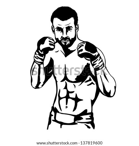 vector outline character: mma fighter - stock vector