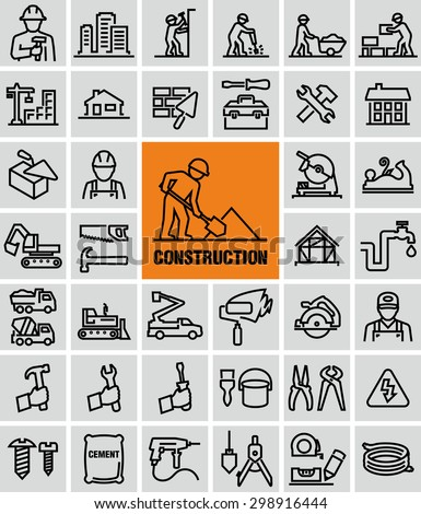 Vector outline construction icons set  - stock vector
