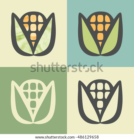 Vector outline corn food icon with watercolor fill. Elements for mobile concepts and web apps. Modern infographic logo and pictogram.