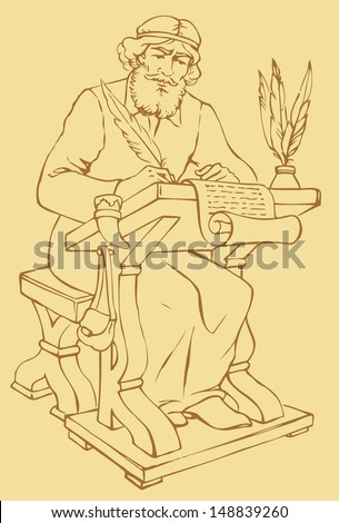Vector outline drawing of an ancient chronicler with a pen and a sheet of parchment at his desk - stock vector