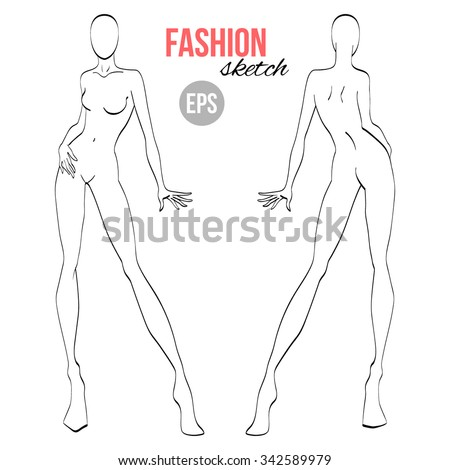 Vector outline girl model template fashion stock vector 342589979 vector outline girl model template for fashion sketching pronofoot35fo Gallery