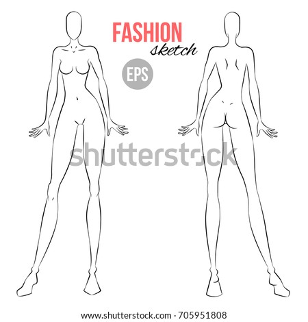Vector Outline Girl Model Template Fashion Stock Vector ...