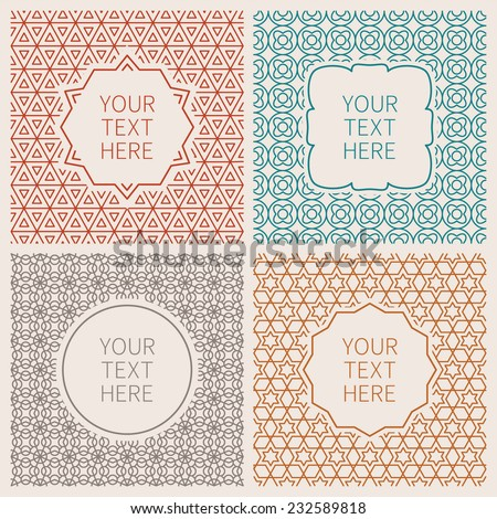 Vector outline hipster style design templates of badges and labels - stock vector