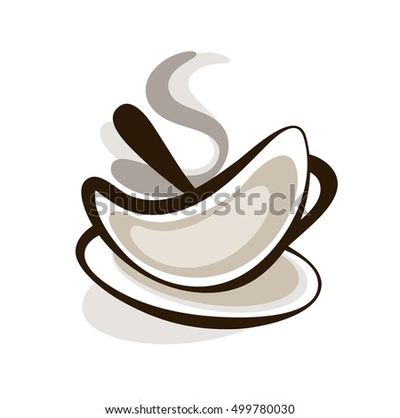 Vector Outline Hot Silhouette Cup Of Coffee