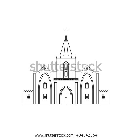 Vector outline illustration of building facade. Church viewed from front elevation on white background. Coloring book page for adults and children. Black outline isolated on white. - stock vector