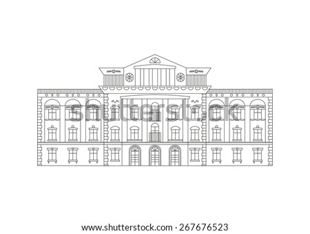 Vector Outline Illustration Building Facade Historical Stock Vector ...