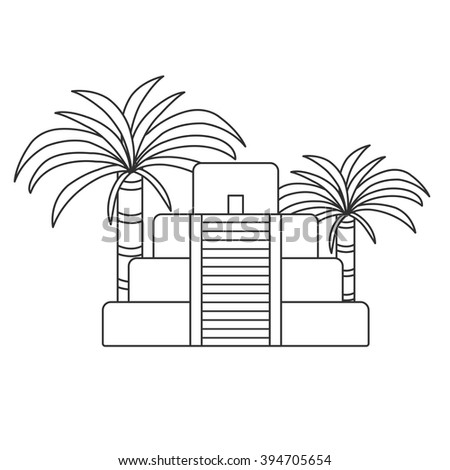 Vector outline illustration with aztec pyramid and palms. Old aztec, mayan civilization concept. Mexico, latin america travel. Aztec culture and heritage. Mexico tourism vector background - stock vector