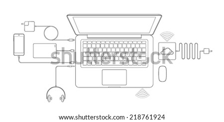 Vector outline of laptop computer and port and plug to connection. - stock vector