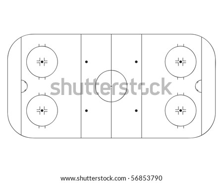 Vector outline of lines on an ice hockey rink.