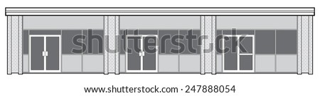 Vector outline of the facade of a suburban retail plaza featuring three storefronts. - stock vector