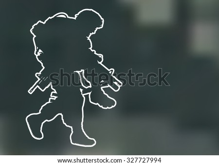 Vector outline silhouette of US soldier carrying a wounded soldier - stock vector