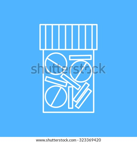 Vector outline tablet bottle on color background . Health icon  - stock vector