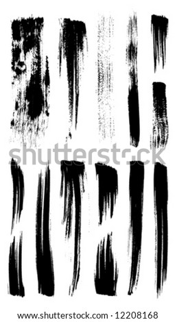 Vector outline traces of customizable organic paint brushes (strokes) in different shapes and styles, highly detailed. Grouped individually, easily editable. Collection of best brushes. - stock vector