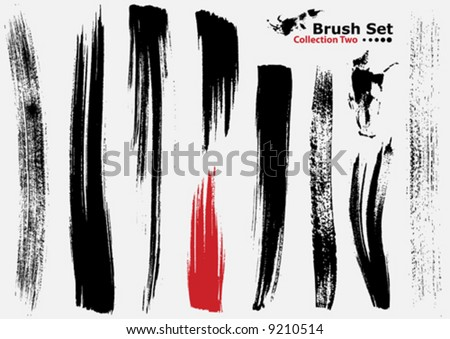 Vector outline traces of customizable organic paint brushes (strokes) in different shapes and styles, highly detailed. Grouped individually, easily editable. Collection set number 2. - stock vector