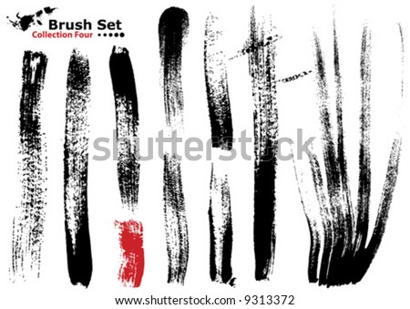 Vector outline traces of customizable organic paint brushes (strokes) in different shapes and styles, highly detailed. Grouped individually, easily editable. Collection set number 4. - stock vector