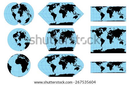 Vector outline world maps in different projections  - stock vector