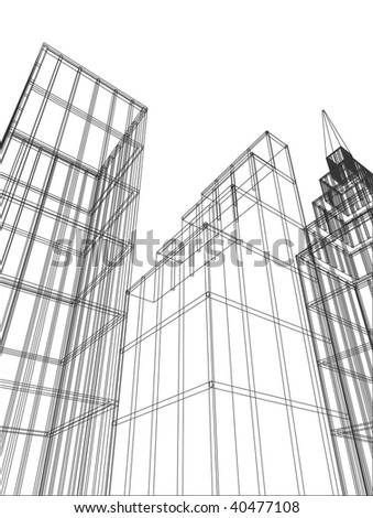 vector outlined buildings - stock vector
