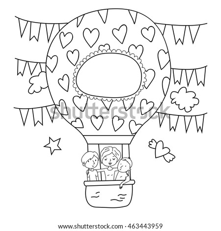 Vector Outlines Adult Coloring Page With Family Mother And Children In Big Air Balloon