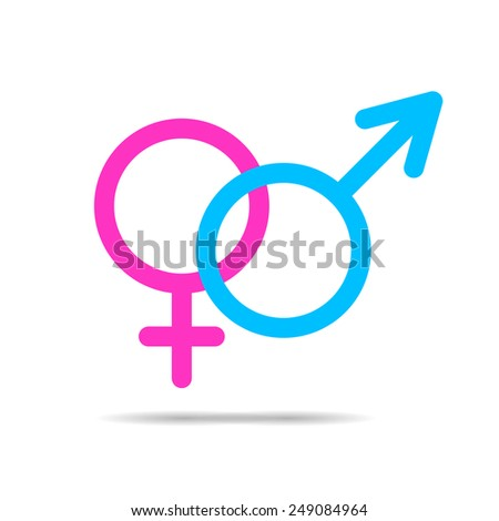 Vector outlines icons of gender male and female symbols - stock vector