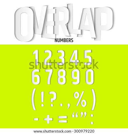Vector Overlapping Numbers and Signs Set in Modern Paper Cut Style - stock vector