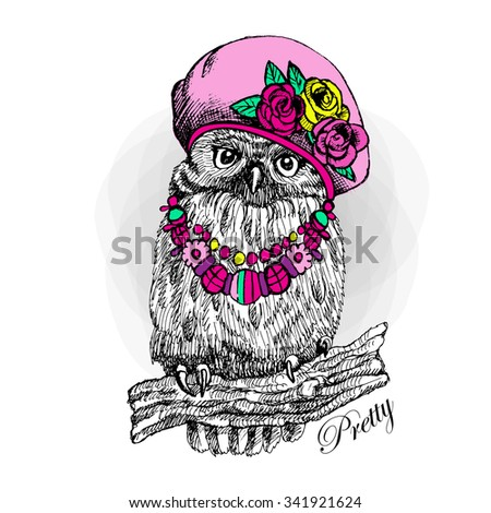 Vector owl in a pink hat. Bird with necklace. Owlet on a tree branch.  - stock vector