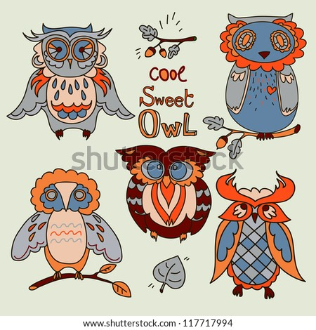 Vector Owl set - stock vector