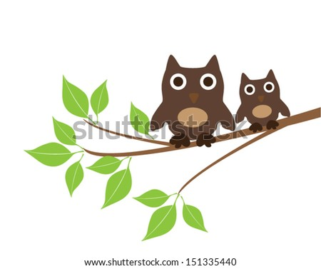 vector owls sitting on the tree branch - stock vector