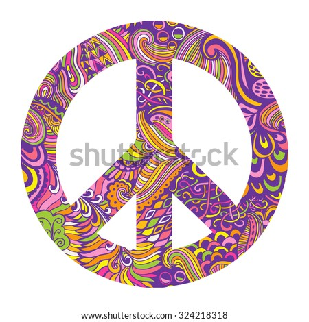 Vector pacifism sign. Hippie style ornamental background. Hand-drawn doodle background and textures. Colorful peace symbol on white background. Retro 1960s, 60s, 70s - stock vector
