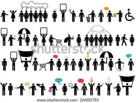 vector pack of 52 distinct people silhouette - stock vector