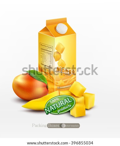 Vector pack of mango juice with slices and diced mango, isolated on white background - stock vector
