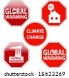 Vector pack of stop signs isolated on pure white (new glossy vs old one color) - STOP GLOBAL WARMING - also available as direct JPEG file in my gallery - stock vector
