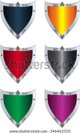 Vector pack with colorful metallic shields