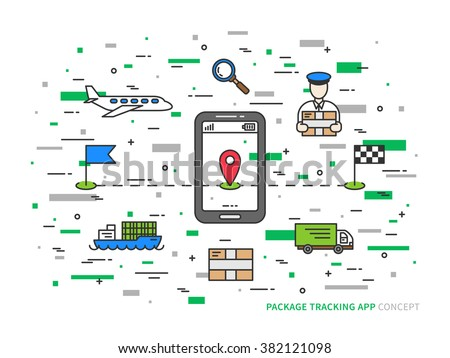 Vector package tracking colorful linear illustration. Parcel tracking (package, global, mobile, app, delivery, box, shipment, service) creative concept. Business logistic technology graphic design. - stock vector