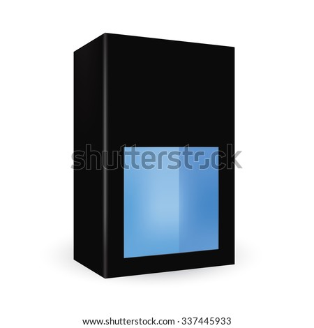 VECTOR PACKAGING: Black package box with front half window, blue inside on isolated white background. Mock-up template ready for design