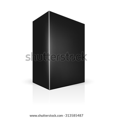 VECTOR PACKAGING: Black thick side view package box on isolated white background. Mock-up template ready for design