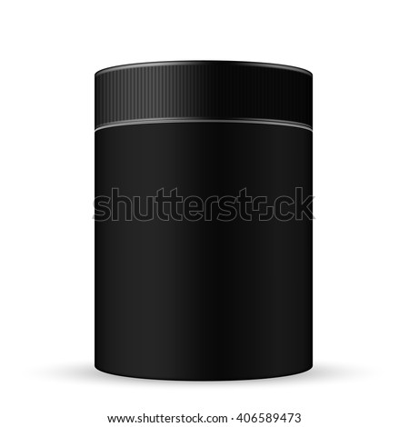 VECTOR PACKAGING: Black wide round container with ribbed screw cap/lid on isolated white background. Mock-up template for design.