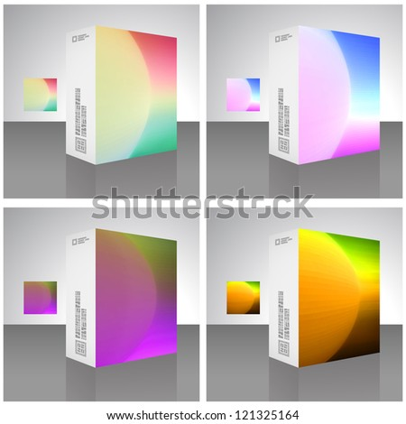 Vector packaging box. Rainbow illustration.