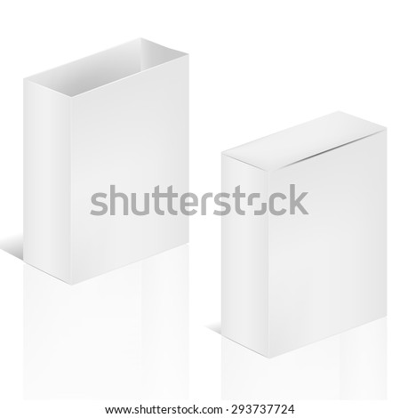 VECTOR PACKAGING: Double white gray package  box, one with lid and the other has none on isolated white background. Mock-up template ready for design.